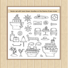 Vector set with hand drawn isolated doodles on the theme of sea cruise, travel symbols