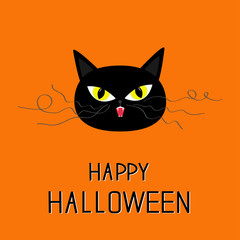 Black cat head. Yellow eyes, fangs, curl moustaches whisker. Happy Halloween greeting card. Funny cartoon character. Isolated. Orange background. Flat design.