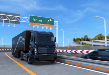 Self driving hybrid truck on highway. 3D rendering image.