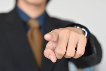 Businessman standing posture show hand