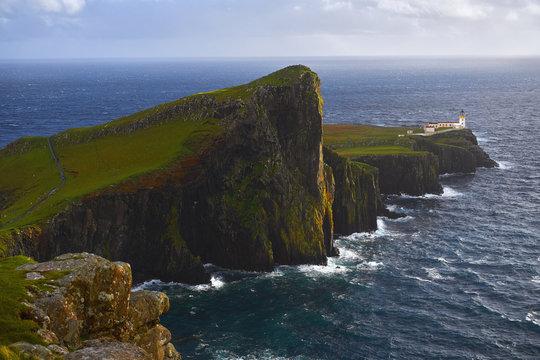Aerial view of Neist Point cliffs, Isle of Skye, Scotland