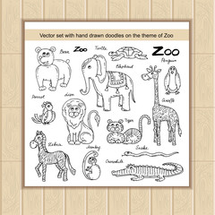 Vector set with hand drawn isolated doodles on the theme of zoo