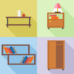 Furniture set, in outlines. Digital vector image