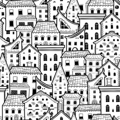 Light seamless pattern with houses, doodle house vector background, monochrome house wallpaper, good for design fabric, wrapping paper, postcards, EPS 8