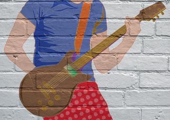 Art urbain, guitariste