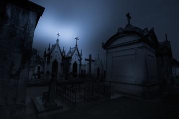 Printed roller blinds Cemetery Dark old european cemetery