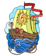 Vector abstract doodle illustration of a sea ship. Print Element T-shirts, postcards of your creativity