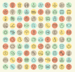 Set of 100 Isolated Universal Minimal Simple Thin Line Baby, Veterinary, Airport and Beach Icons on Circular Color Buttons.