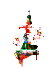 Vector illustration for music inspires, combining colorful music instruments, piano, french horn, trumpet and violoncello