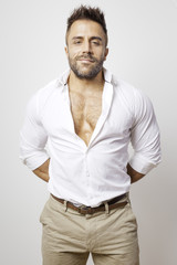 bearded man open shirt