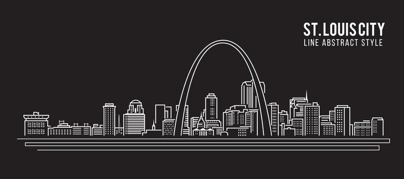 Cityscape Building Line art Vector Illustration design - st. louis city