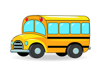 School bus.School bus cartoon of yellow color on a white background.