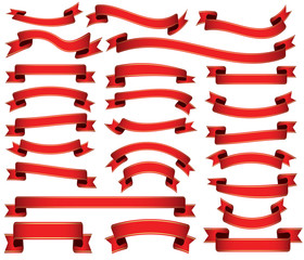 set of red colored ribbon banners