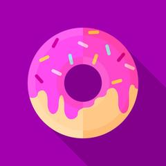Donut flat icon illustration