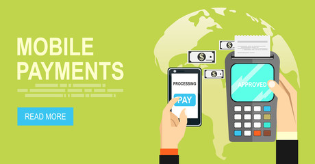 Mobile payments.Transaction and paypass and NFC. Vector illustration