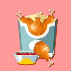 Fried chicken. Flat style design - vector