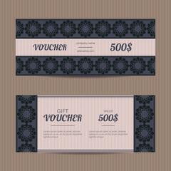 Vector illustration of gift voucher template collection. Elegant voucher tickets. Voucher sale coupon.