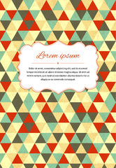 Retro card background with many triangles and text template, a4 size illustration