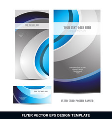 Blue silver grey flyer template design