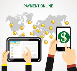 Online and mobile payments concept. Vector illustration.