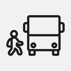 Bus and child icon illustration