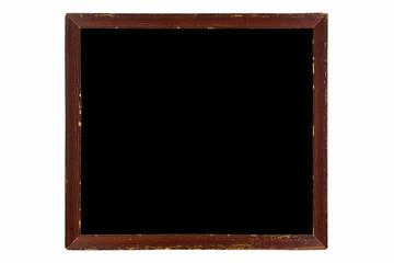Blank vintage wooden picture frame made of wood in brown with black background isolated on white background