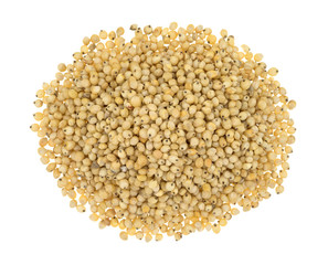 Whole grain sorghum seeds on a white background.