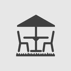 Table and umbrella icon illustration
