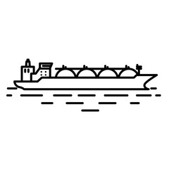 Flat linear liquefied natural gas or LNG tanker ship illustration