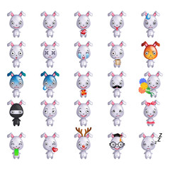 Set of cute bunny  smiley emoticons or emoji