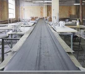 Conveyor belt in textile factory
