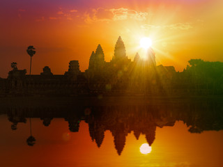 Wall Mural - Angkor Wat on sunset