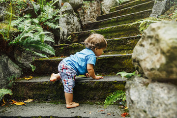 Mixed race baby boy climbing staircase