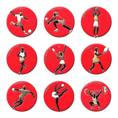 Athlete Icons on Round red Buttons. Summer olympic games icons. Sport icons set with sportsmen for any competition or championship design. Sports medals. Original 3D Illustration. Colored plasticine