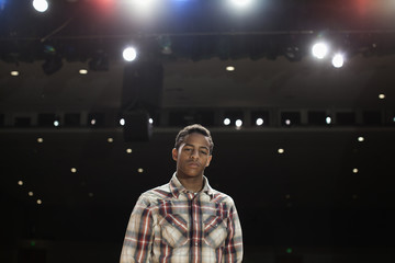 African American teenage boy on stage
