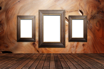 Picture frame is available on the wooden walls,3D rendering
