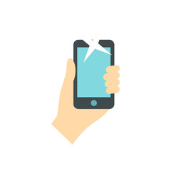Hand holding smartphone icon in flat style on a white background