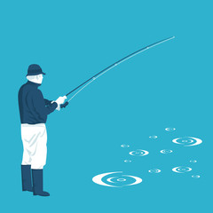flat illustration of fishing