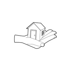 House in hand icon in outline style on a white background