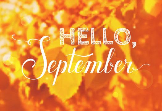 Hello, September. Vector background.