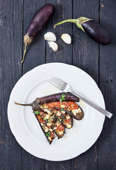 Eggplant with olive oil, basil and cherry tomatoes