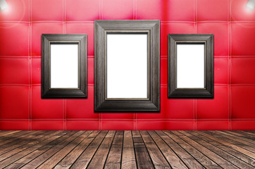 Picture frame is available on the red walls,3D rendering