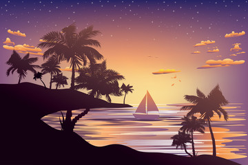 Photo sur Aluminium Dauphins Tropical Island at Sunset