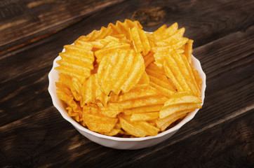 Plate of potato chips