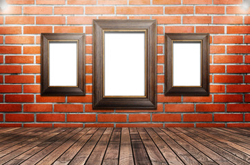 Picture frame is available on the brick walls,3D rendering