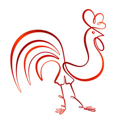 ... Rooster. The symbol of the Chinese New Year 2017. Vector illustration