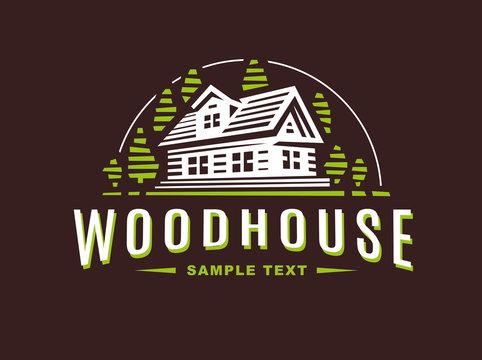 Logo wooden house on dark background