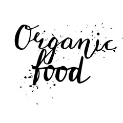 Organic food Hand drawn lettering card
