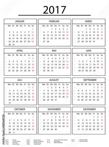 Jahreskalender 2017 mit Rahmen weiss\