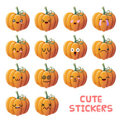 Cute pumpkin icons set